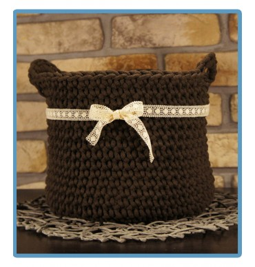 ręcznie robiony koszyk sonia handmade ze sznurka bawełnianego