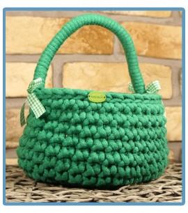 ręcznie robiony koszyk krysia handmade ze sznurka bawełnianego