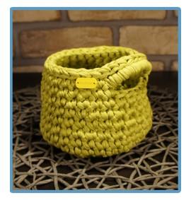 ręcznie robiony koszyk mariola handmade ze sznurka bawełnianego