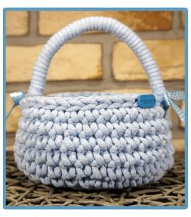 ręcznie robiony koszyk handmade ze sznurka bawełnianego lena