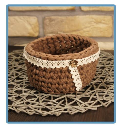 ręcznie robiony koszyk dalia handmade ze sznurka bawełnianego