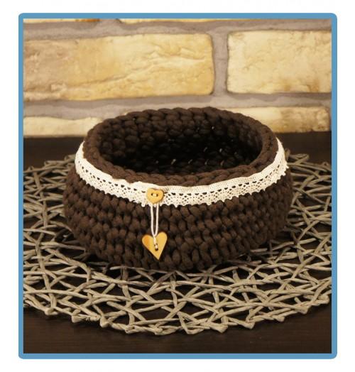 ręcznie robiony koszyk honorata handmade ze sznurka bawełnianego