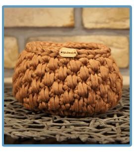 ręcznie robiony koszyk olga handmade z włóczki zpagetti